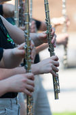 Flutes in a parade — Stock Photo