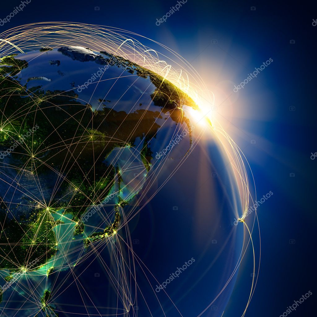 Highly detailed planet Earth at night, lit by the rising sun, with embossed continents, illuminated by light of cities, translucent and reflective ocean. Earth is surrounded by a luminous network, representing the major air routes based on real data — Stockfoto #10170518