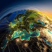 Huvudsakliga flyglinjer i europa — Stockfoto