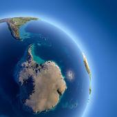 Aarde met hoog reliëf, verlicht door de zon — Stockfoto