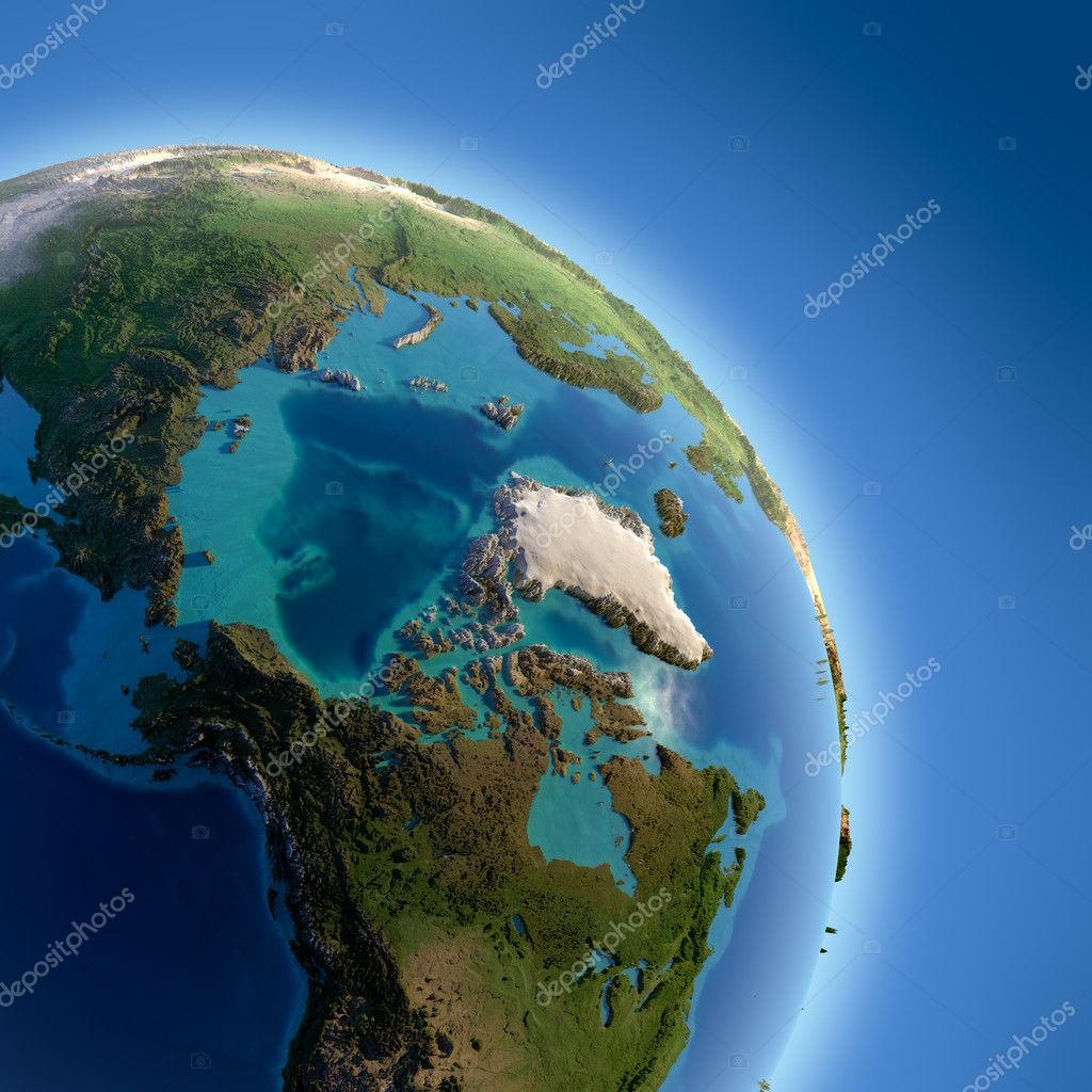 A fragment of the Earth with high relief, detailed surface, translucent ocean and atmosphere, illuminated by sunlight — Stock Photo #8204546