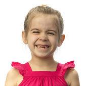 Bambina con denti da latte è caduto fuori — Foto Stock