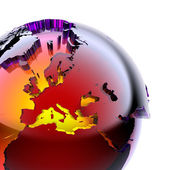 Globe of colored glass with an inner warm glow — Stock Photo