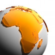 A fragment of the Earth with continents of orange glass — Stock Photo