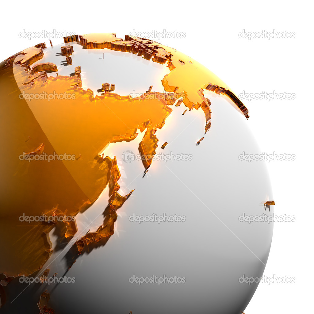 A fragment of the globe with the continents of thick faceted amber glass, which falls on hard light, creating a caustic glare on faces. Isolated on white backgr — Stock Photo #8515324