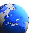 A fragment of the Earth with continents of blue glass — Stock Photo