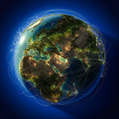 Major global aviation routes on the globe — Stock Photo
