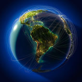 Wichtige globale luftfahrt routen auf dem globus — Stockfoto