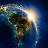 Main air routes in South America — 图库照片