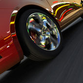 Dynamic racing car and the lights of the city — Stock Photo