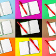 Opened notebook and red pen — Stock Photo #9186550
