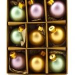 Christmas decoration balls in box — Stock Photo