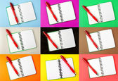 Opened notebook and red pen — Stock Photo