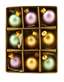 Christmas decoration balls in box — Stock Photo