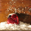 Stock Photo: Red heart in the snow