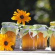 Royalty-Free Stock Photo: Homemade jellies with flowers