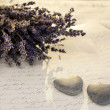 Stone hearts with lavender - Stock Photo