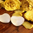 Stone hearts and roses - Stock Photo