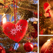 Collage with Christmas decoration — ストック写真