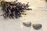 Stone hearts with lavender — Stock Photo