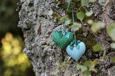 Textil hjärtan — Stockfoto
