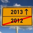 German road sign 2012 and 2013 for the turn of the year — Stock Photo #9293010