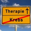 German road sign cancer and therapy - Stock Photo