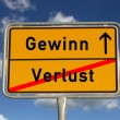 German road sign deficit, and profit - Stock Photo