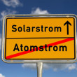German road sign nuclear power and solar power — Stock Photo