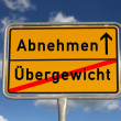 German road sign lose weight and excess weight — Stock Photo