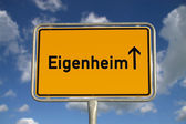 German road sign owned home — Stock Photo