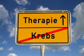 German road sign cancer and therapy — Stock Photo