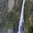 Stock Photo: Water fall and boat in Milford Sound