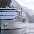 Cruise ship in the Milford Sound — Stock Photo