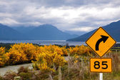 Yellow broom bushes and road sign at the Milford Road — Stock Photo