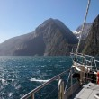 On a boat in the Milford Sound — Foto Stock