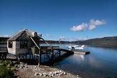 Flying boat on the Lake Te Anau — Stock Photo