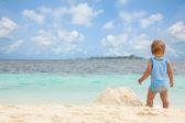 Kid, summer, beach sandbox — Stock Photo