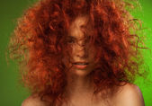Red curly hair woman beauty portrait — Stock Photo