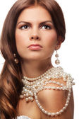 Portrait of a girl with pearls necklace — Stock Photo