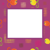 Frame with squares and fishes — Stock Vector