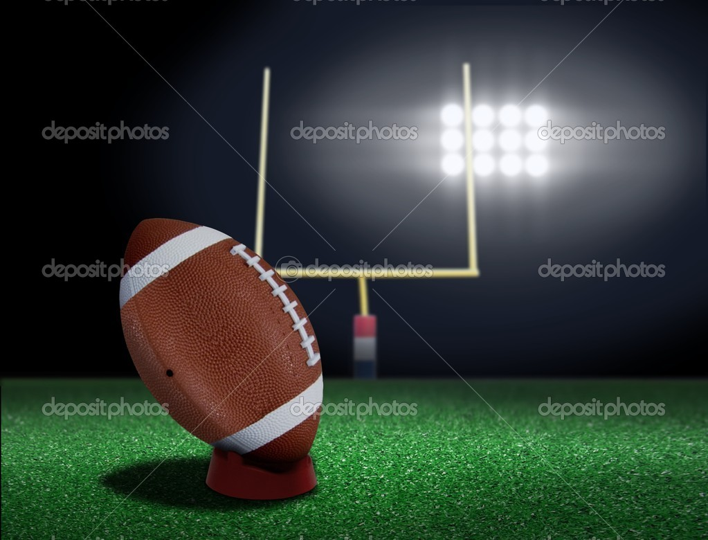Football on tee ready to be kicked off — Stock Photo #8409683