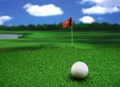 Hole in one in cloudy day — Stock Photo