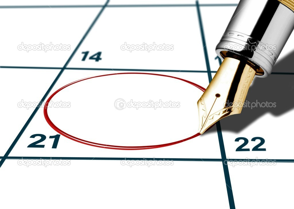 Calender date circled with red pen — Stock Photo #8771828