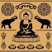 Doğu budist elemanları — Stok Vektör