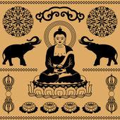 Elementos de oriente budista — Vector de stock