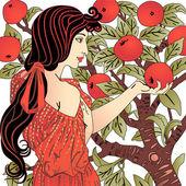 Girl in a garden — Stock Vector