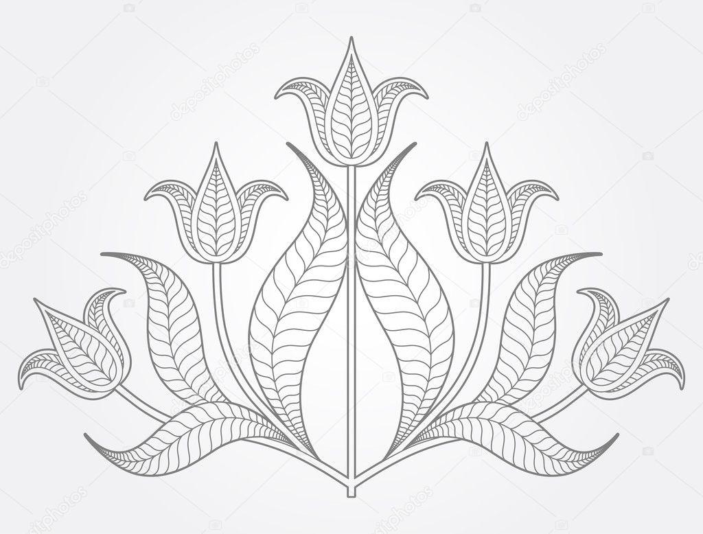 从浅灰色背景上的五个郁金香组成