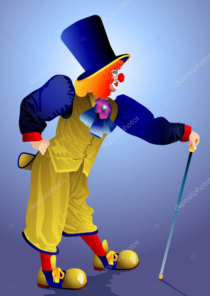 Clown in a cap with a walking stick on a blue background — Stock Vector #9798759