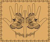 Hands with butterflies — Stock Vector